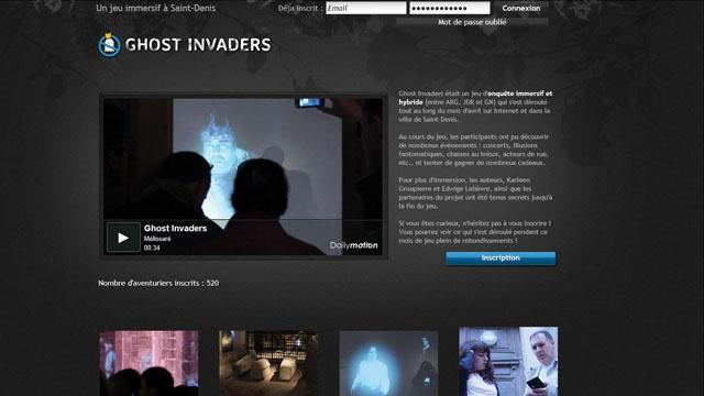 Page du site www.ghostinvaders.fr du jeu Ghost Invaders (alias Les Mystères de la Basilique)